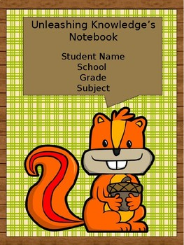 Editable Student Binder Covers- Woodland Animals/ Camping/ Outdoor Theme