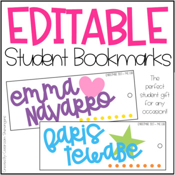 Editable Student Bookmarks {Student Gift for Any Occasion}