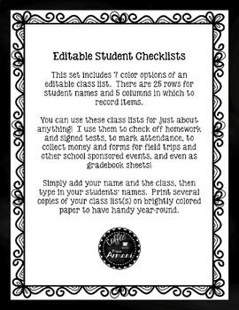 Editable Student Checklists