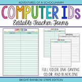 Editable Student Computer ID Forms | Build a Teacher Binder