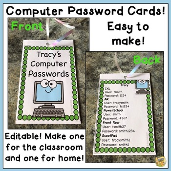 Editable Student Computer Password Cards - SO EASY TO MAKE!