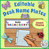 Name Tags EDITABLE Desk Name Plates Bugs / Insects Theme