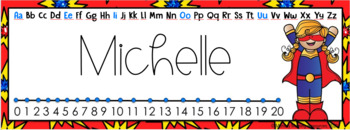 Editable Student Desk Name Plates - Super Hero Theme