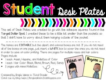 Editable Student Desk Plates {Melonheadz Edition} Fits Target Adhesive Pockets