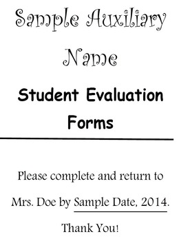 Editable Student Evaluation Form For School Auxiliaries Editable Student  Evaluation Form For School Auxiliaries