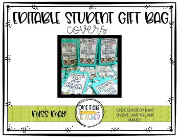 Editable Student Gift Bag Covers
