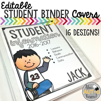 Editable Student Information Binder Covers