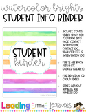 Editable Student Information Binder- Watercolor Brights