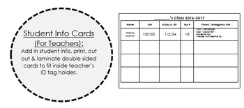 Editable Student Information Cards for Teacher ID Tag Hold