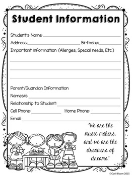 Editable Student Information Sheet & Parent Contact Log FREEBIE