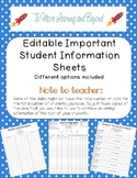 Editable Student Information Sheets