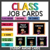 Editable Student Job Cards Rainbow Black