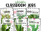 Editable Student Jobs - Succulent - Cactus - Decor