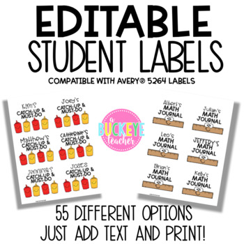 Editable Student Labels Compatible with Avery 5264 Labels