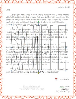 Editable - Student Letter - First Day - Mail Home