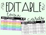 Editable Student Login Cards