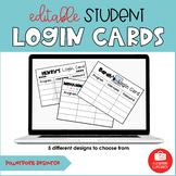 Editable Student Technology Login Cards   Digital and Print  