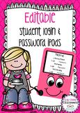 Editable Student Login & Password Cards