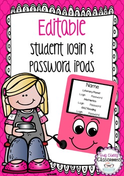 Editable Student Login & Password Cards