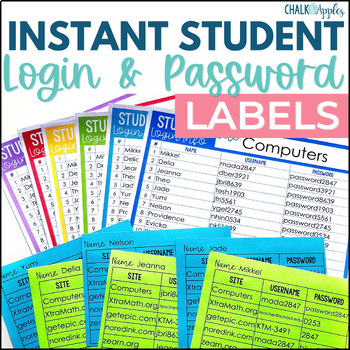 Instant Editable Student Login & Password Labels!