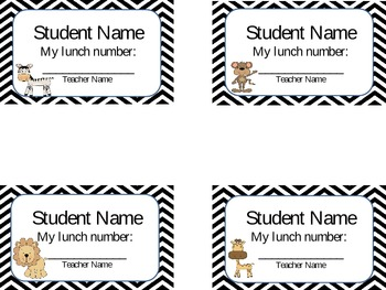 Editable Student Lunch Number Cards in Chevron Print and J
