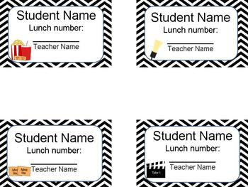 Editable Student Lunch Number Cards in Hollywood & Movie Theme