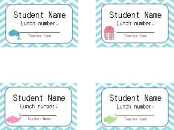 Editable Student Lunch Number Cards in Ocean/Underwater Theme