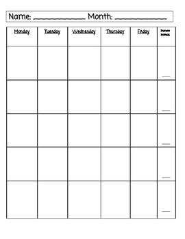 Editable Student Monthly Calendar