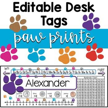 Editable Student Name Desk Tags Paw Print