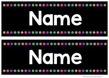 Name Labels {Black Editable Locker Tub Labels}