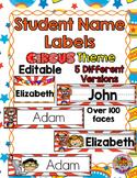 Editable Student Name Labels-Circus Theme