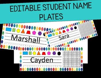 Editable Student Name Plates