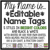 Editable Student Name Tags - Primary & Cursive Alphabet Line!
