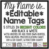 Editable Student Name Tags - Primary & Cursive Alphabet Line!