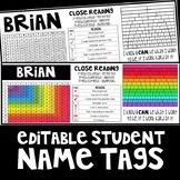 Editable Student Name Tags
