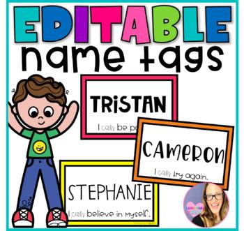 Editable Student Name Tags - Growth Mindset Theme
