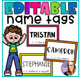Editable Student Name Tags - Growth Mindset Theme