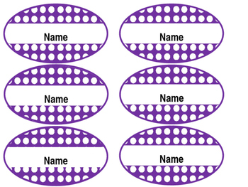 Editable Student Name Tags - Oval, Purple, Polka dotted, 6.