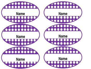 Editable Student Name Tags - Oval, Purple, Polka dotted, 6.