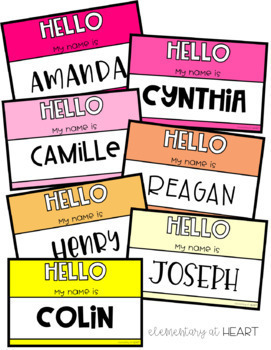 Editable Student Name Tags- Rainbow Theme