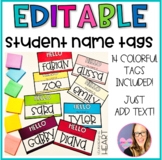 Editable Student Name Tags- Rainbow Theme
