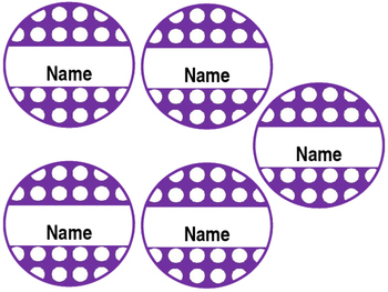 Editable Student Name Tags - Round, Purple, Polka dotted, 5.