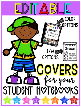 Editable Student Notebook Covers