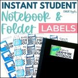 Instant, Editable Student Notebook & Folder Labels