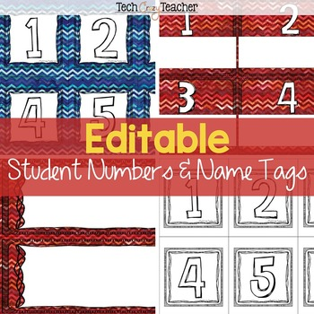 Editable Student Numbers and Name Tags