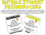 Editable Student Password Card
