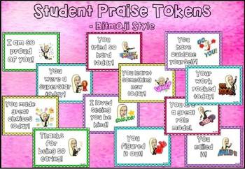 Editable Student Praise Tokens- Bitmoji Style