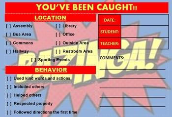 Editable Student Praise/Compliment Gotcha Cards for Behavior/Work PBIS