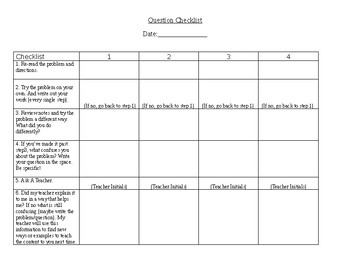 Editable Student Question Checklist