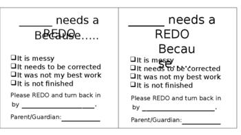 Editable Student Re-Do Slips